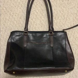 Tignanello Black & Brown Leather Tote